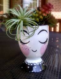 Vase Holders Face Vase Ceramic Cup Pencil Holder Head By Georgiablueboutique