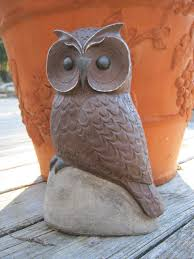 Ceramic Garden Decor Owl Statue Owl For Garden Concrete Owl Figure Concrete Owls