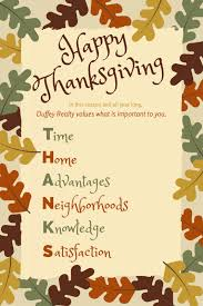 happy thanksgiving from us duffey realty
