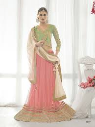 buy net elegant lehenga choli in peach color filly fashion