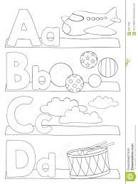 alphabet coloring page letters a b c d stock vector image