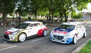 peugeot france ds3 wrc and peugeot 208 t16 on the road wrc france 2014 youtube