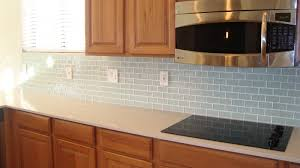 blue glass kitchen backsplash