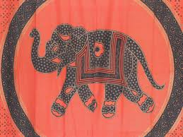 unique curtains orange gold print 2 elephant mandala window