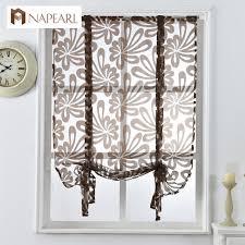 Sheer Door Curtains Kitchen Short Curtains Jacquard Roman Blinds Floral White Sheer