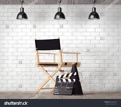 Director Style Chairs Director Chair Movie Clapper Megaphone Front Stock Illustration