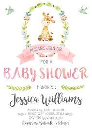 baby shower giraffe giraffe baby shower invitation invite pastel watercolor pink