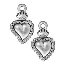 sacred heart jewelry tierracast silver plated pewter dia de los muertos sacred heart