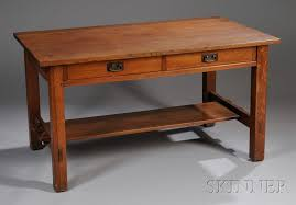 Oak Table L L J G Stickley Arts Crafts Oak Two Drawer Library Table