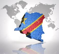 Republic Of Congo Map Map Of Democratic Republic Of Congo With Congolese Flag On A