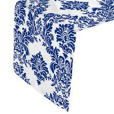 blue and white table runner rnfk whry white table runner with royal blue damask flocking