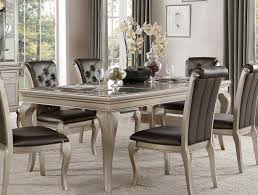 Silver Dining Room Set by Homelegance Crawford Dining Table With Leaf Silver 5546 84