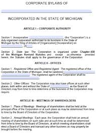free michigan corporate bylaws template pdf word