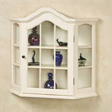 Curio Cabinet Amelia Whitewash Wooden Wall Curio Cabinet