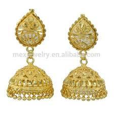 jhumki earring 18k gold indian dangle drop jhumki jhumka earring set