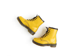 s yellow boots yellow dr martens boots doc martens boot 90s grunge ankle
