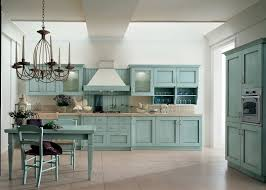 kitchen teal base and upper kitchen cabinets cream ceramic tiles
