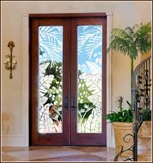 Window Decor Film Tropical Oasis Etched Glass See Through Film For Beach Tropical
