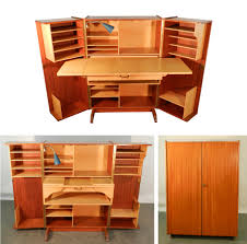 Compact Home Office Desks Teak And Sycamore Compact Home Office Desk And Storage Modernism