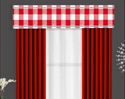 Red And White Buffalo Check Curtains Gray Cornice Board Valance Window Treatment Custom Curtain