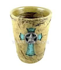 western ceramic waste basket u0026 tissue box cover set rust bathroom