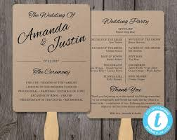 wedding fan program rustic wedding program fan template fan wedding program template