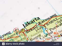 Map Of Jakarta Close Up Of Atlas Map Of Jakarta Indonesia Stock Photo Royalty