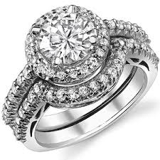 halo wedding ring brilliant antique halo moissanite wedding set moissaniteco