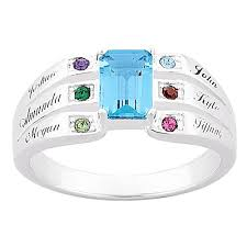 rings with birthstones and names personalized s sterling silver or 18k gold silver