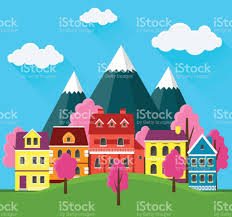 small cute houses spring cityscape urban landscape with small cute houses and