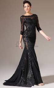 black bateau neckline long lace mermaid bridesmaid dress in black
