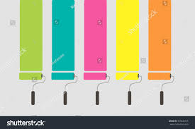 5 set colorful paint roller brushes stock vector 355848725