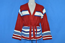 wrap cardigan sweater 70s jc penney striped wrap cardigan sweater s small the
