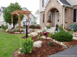 outstanding stone landscaping ideas with front yard landscaping ideas with circular driveway best images