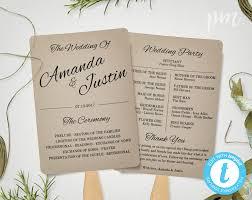Fan Ceremony Programs Rustic Wedding Program Fan Template Fan Wedding Program
