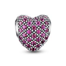 crystal heart charm bracelet images Bright magenta paved crystal heart charm png