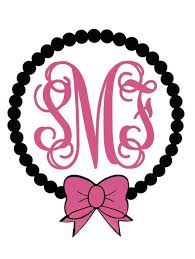 bow monogram 5 personalized pearl bow decal ddp monograms gifts