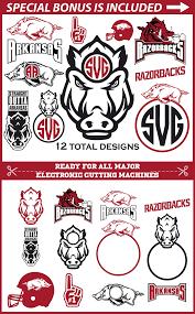 arkansas razorbacks monogram cut files 12 designs svg file