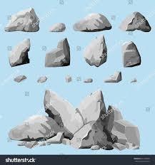 set stones rock elements different shapes stock vector 411206500