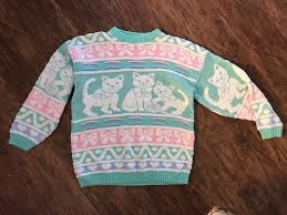 vintage pastel cat rose fairy kei sweater sparkle acrylic
