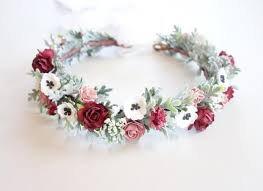 floral headdress bridal flower crown floral headpiece marsala wedding flower