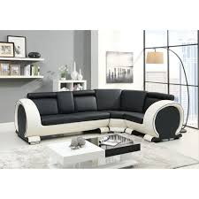 canape d angle 5 places cuir canapé d angle droit 5 places croûte de cuir noir et blanc