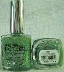 pure ice nail polish sheer luck 1003 green glitter mix
