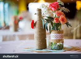 diy wedding decor table centerpieces wine stock photo 188790059