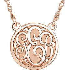 monogram necklace gold personalized 14k gold recessed 3 letter monogram necklace