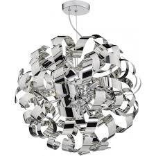 ribbon light chrome metal ribbon shaped ceiling pendant light with drop