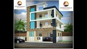Brown Stone Tile Indian Home Front Design With Glass Balcony House