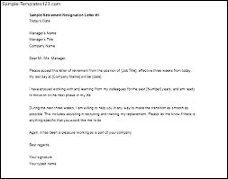 resignation letter samples of retirement resignation letters