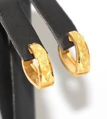 hoop huggie stunning 22k solid yellow gold handmade hoop huggie earrings 4 5