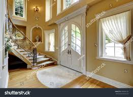 Decorated Ceiling Beautiful High Ceiling Entrance Hall Staircase Stock Photo